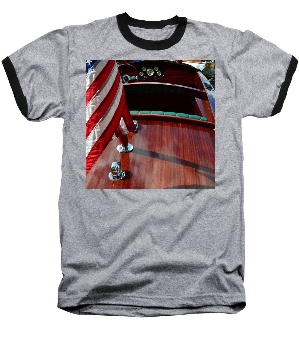Classic Boat Baseball T-Shirt featuring the photograph Chris Craft With Flag And Steering Wheel by Michelle Calkins