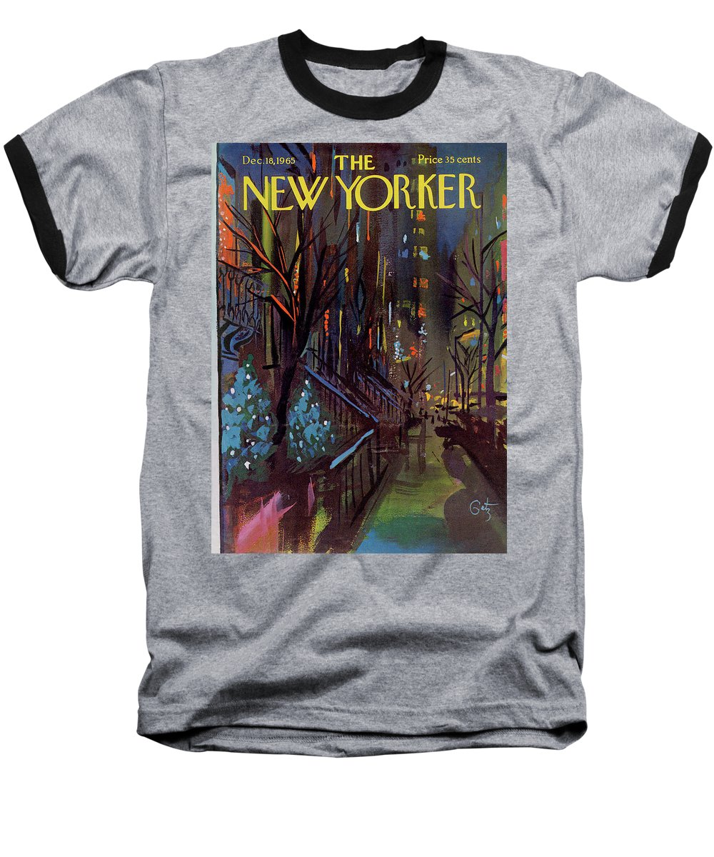 Christmas Baseball T-Shirt featuring the painting Christmas In New York by Arthur Getz