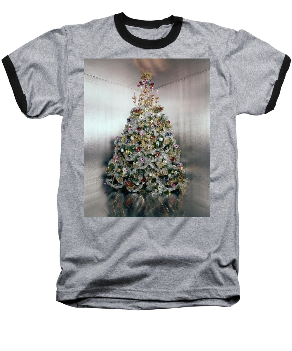 Home Baseball T-Shirt featuring the photograph Christmas Tree Decorated By Gloria Vanderbilt by Ernst Beadle