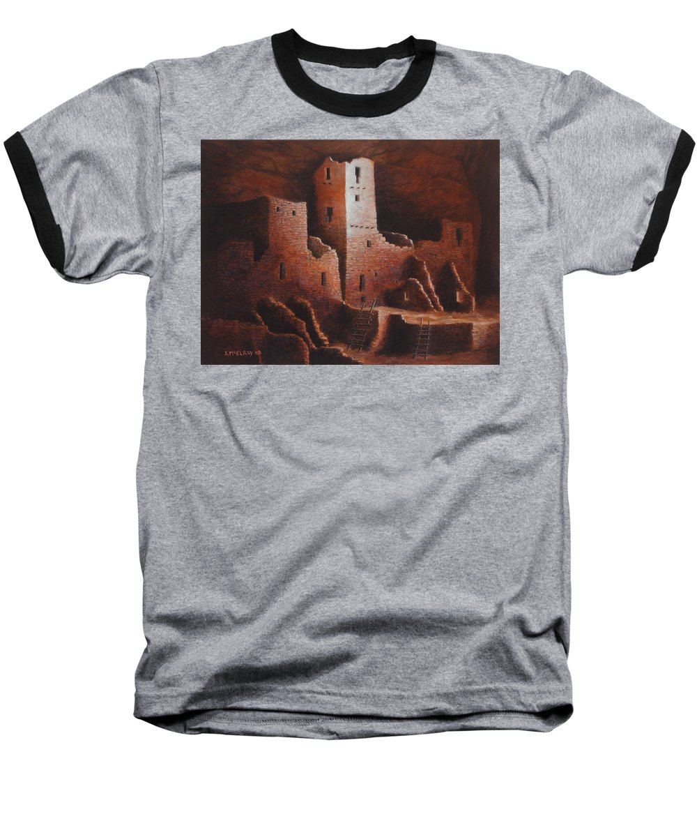 Anasazi Baseball T-Shirt featuring the painting Cliff Palace by Jerry McElroy