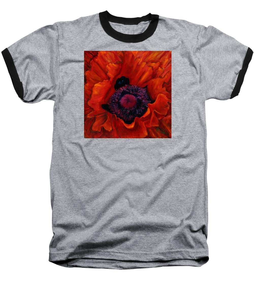 Red Poppy Baseball T-Shirt featuring the painting Close Up Poppy by Billie Colson