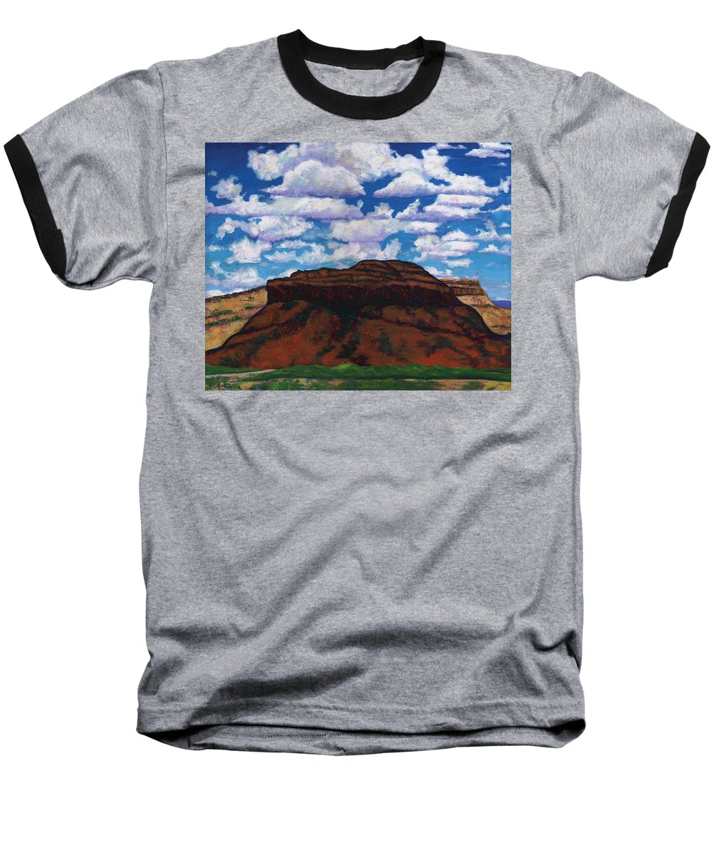 Lanscape Baseball T-Shirt featuring the painting Clouds Over Red Mesa by Joe Triano