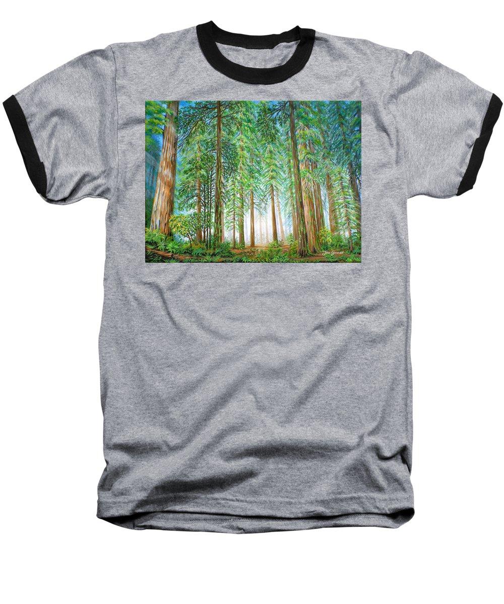 Trees Baseball T-Shirt featuring the painting Coastal Redwoods by Jane Girardot