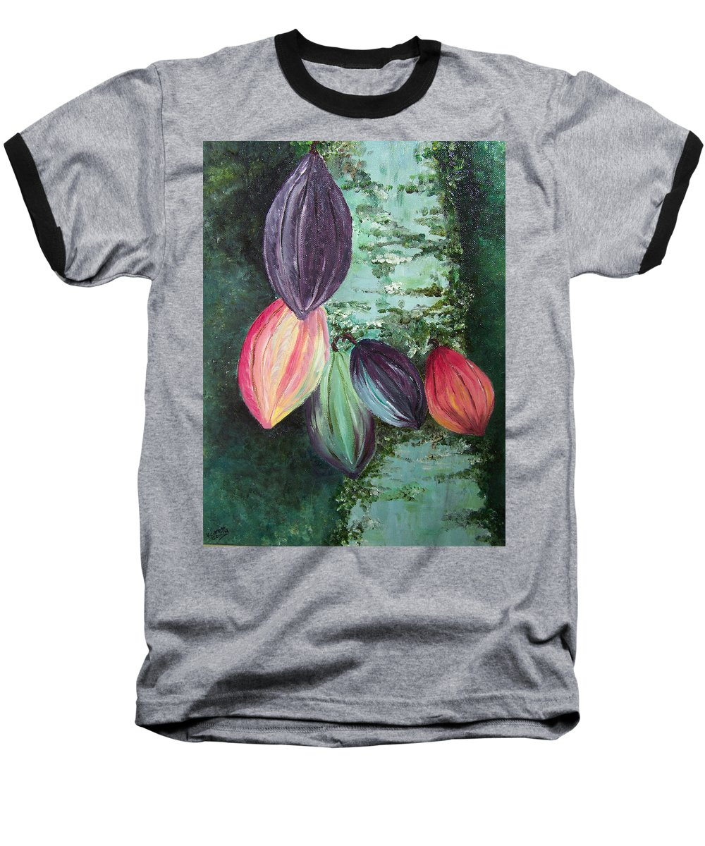 Cocoa On The Tree Baseball T-Shirt featuring the painting Cocoa Pods by Karin Dawn Kelshall- Best