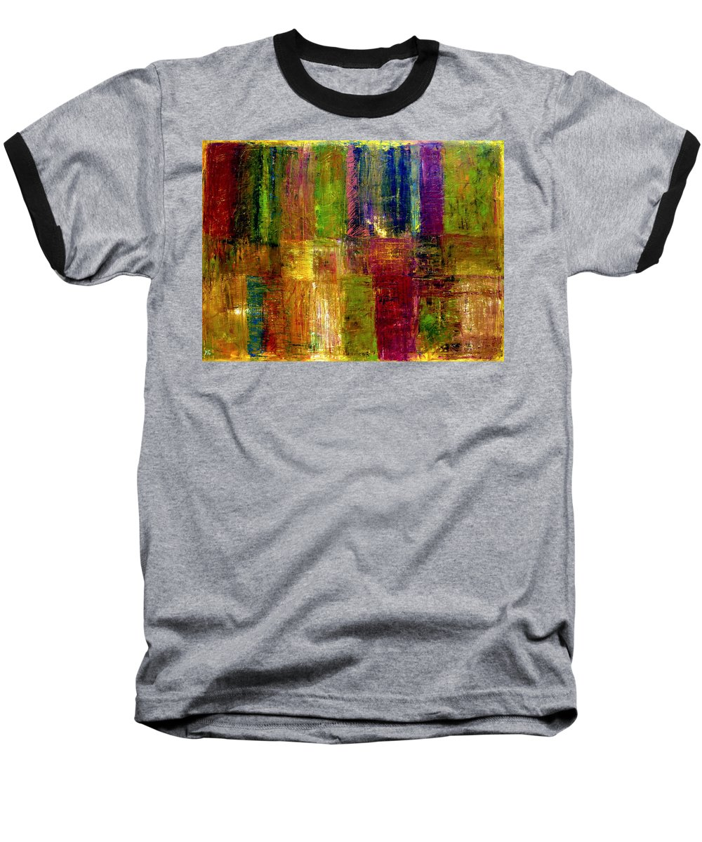 Abstract Baseball T-Shirt featuring the painting Color Panel Abstract by Michelle Calkins