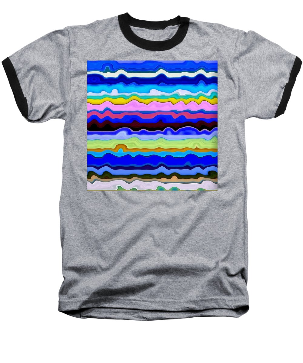 Textural Baseball T-Shirt featuring the painting Color Waves No. 4 by Michelle Calkins