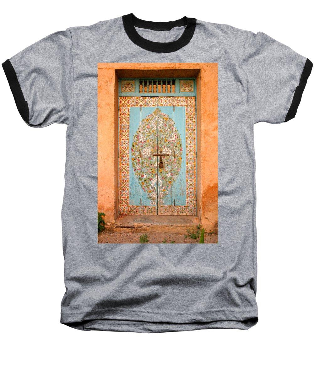 Door Baseball T-Shirt featuring the photograph Colourful Moroccan Entrance Door Sale Rabat Morocco by Ralph A Ledergerber-Photography