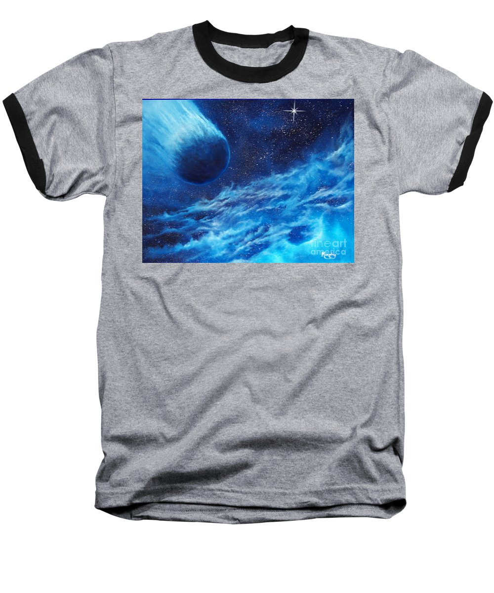 Astro Baseball T-Shirt featuring the painting Comet Experience by Murphy Elliott