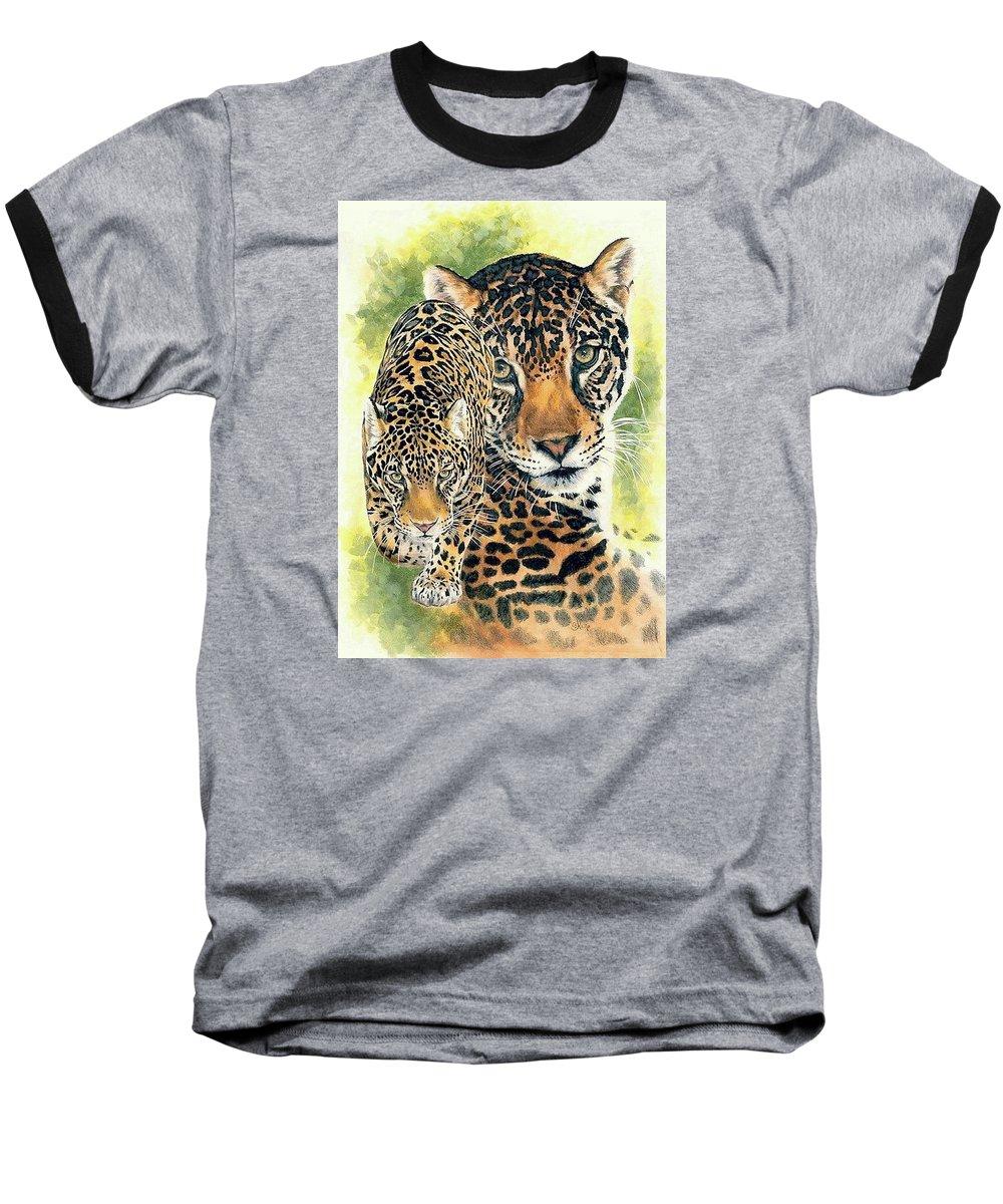 Jaguar Baseball T-Shirt featuring the mixed media Compelling by Barbara Keith