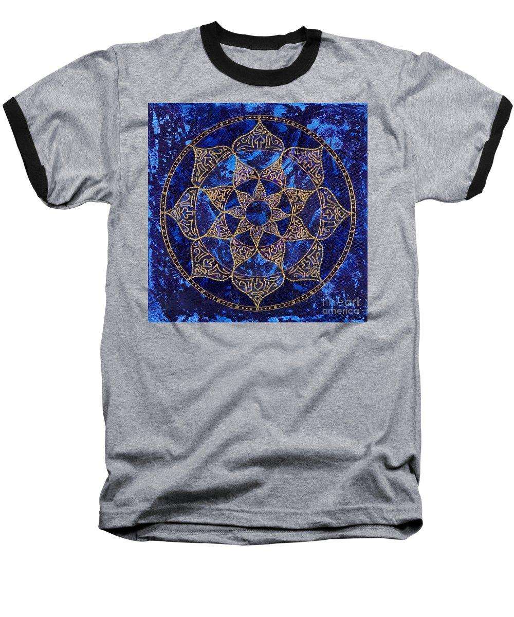Mandala Baseball T-Shirt featuring the painting Cosmic Blue Lotus by Charlotte Backman