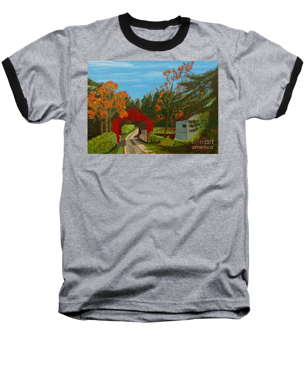Path Baseball T-Shirt featuring the painting Covered Bridge by Anthony Dunphy