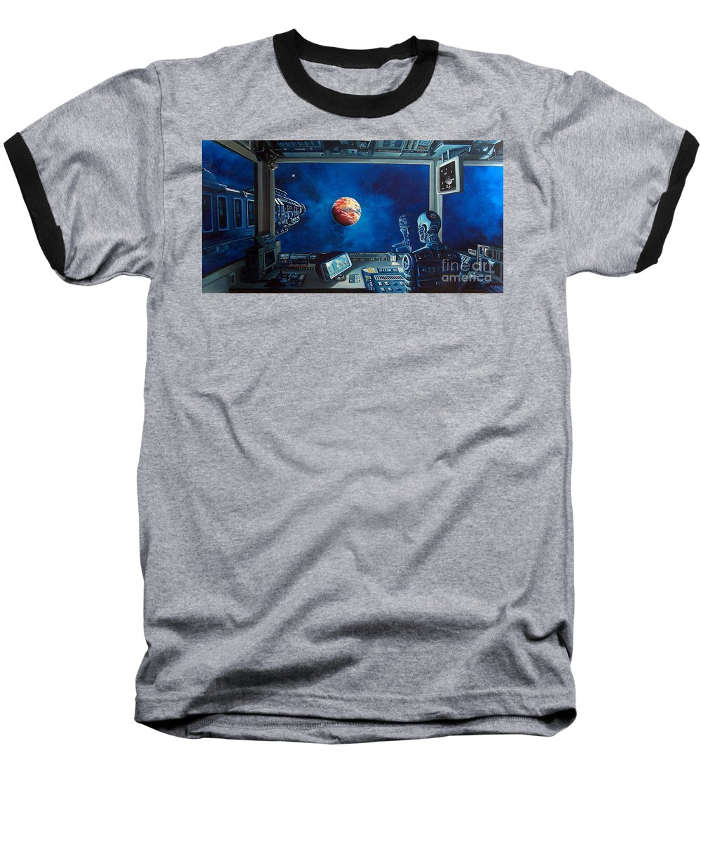 Fantasy Baseball T-Shirt featuring the painting Crying Robot by Murphy Elliott