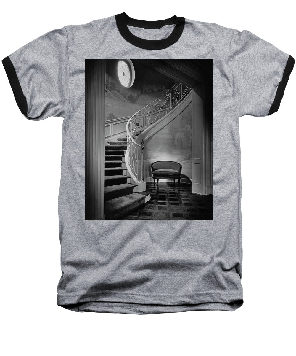 Interior Baseball T-Shirt featuring the photograph Curving Staircase In The Home Of W. E. Sheppard by Maynard Parker