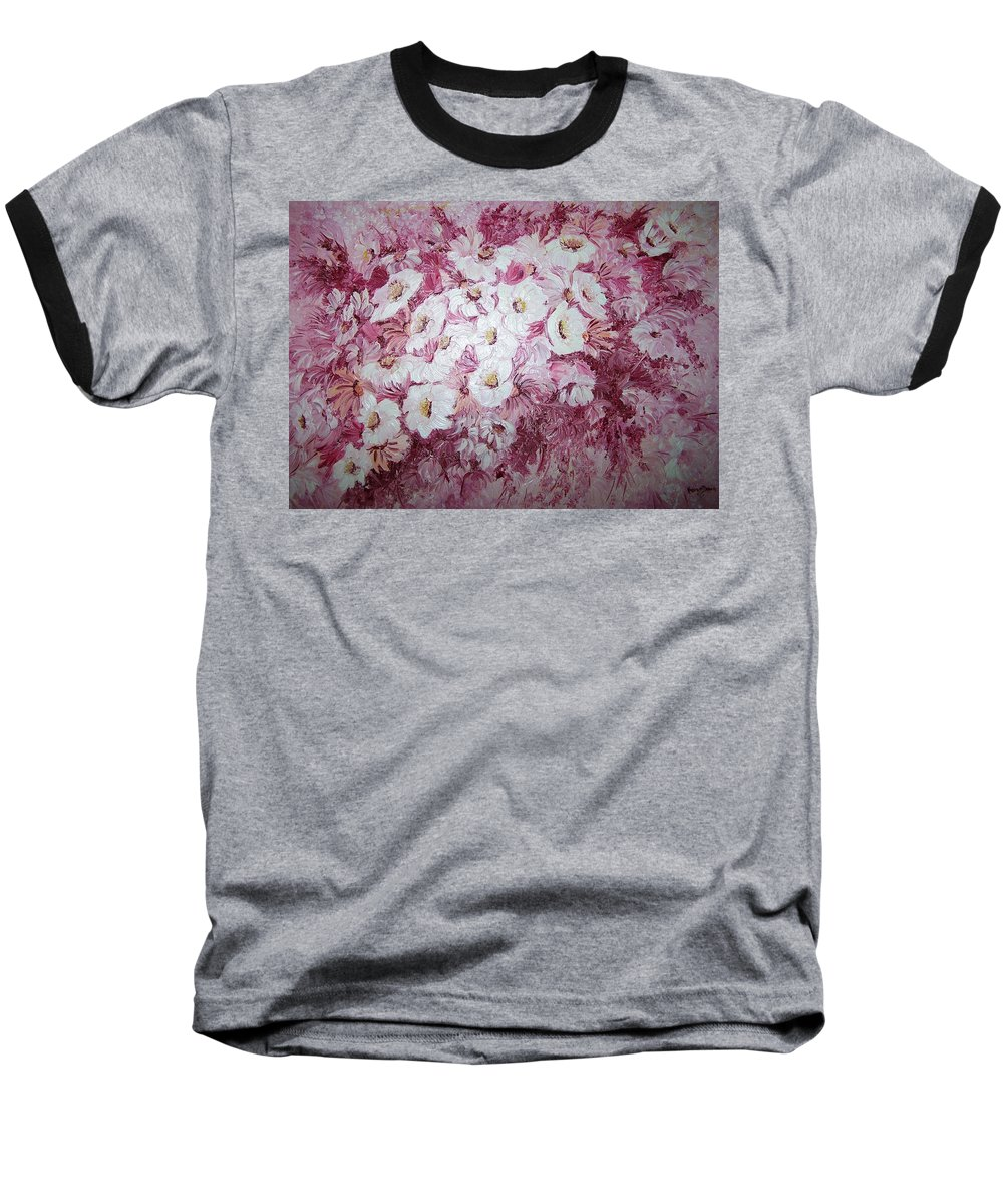Baseball T-Shirt featuring the painting Daisy Blush by Karin Dawn Kelshall- Best