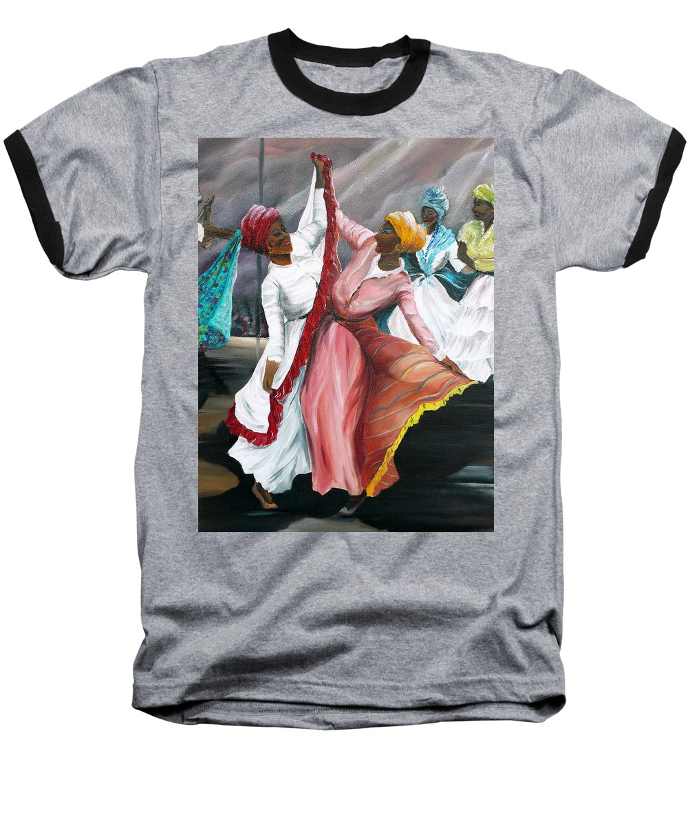 Dancers Folk Caribbean Women Painting Dance Painting Tropical Dance Painting Baseball T-Shirt featuring the painting Dance The Pique 2 by Karin Dawn Kelshall- Best
