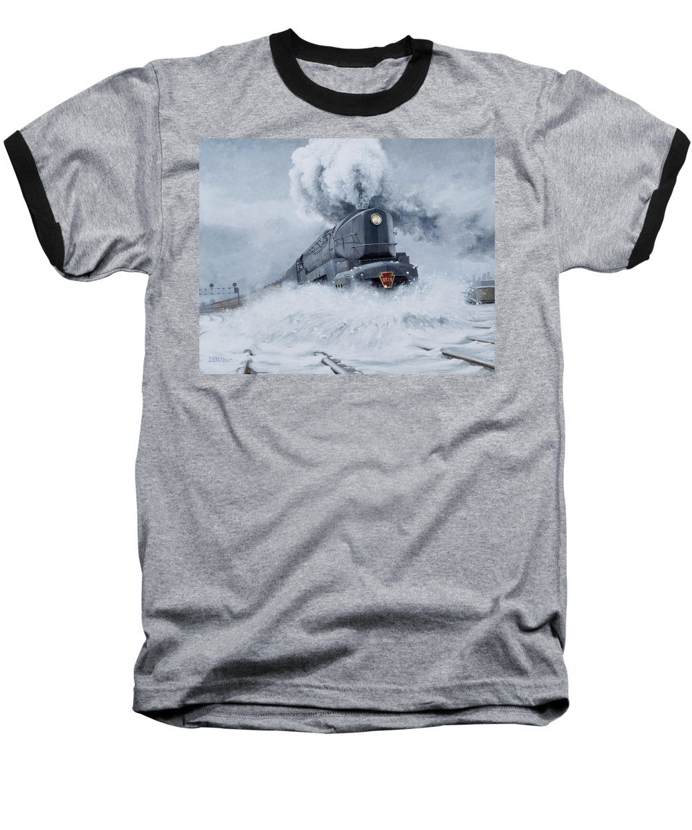 Trains Baseball T-Shirt featuring the painting Dashing Through The Snow by David Mittner