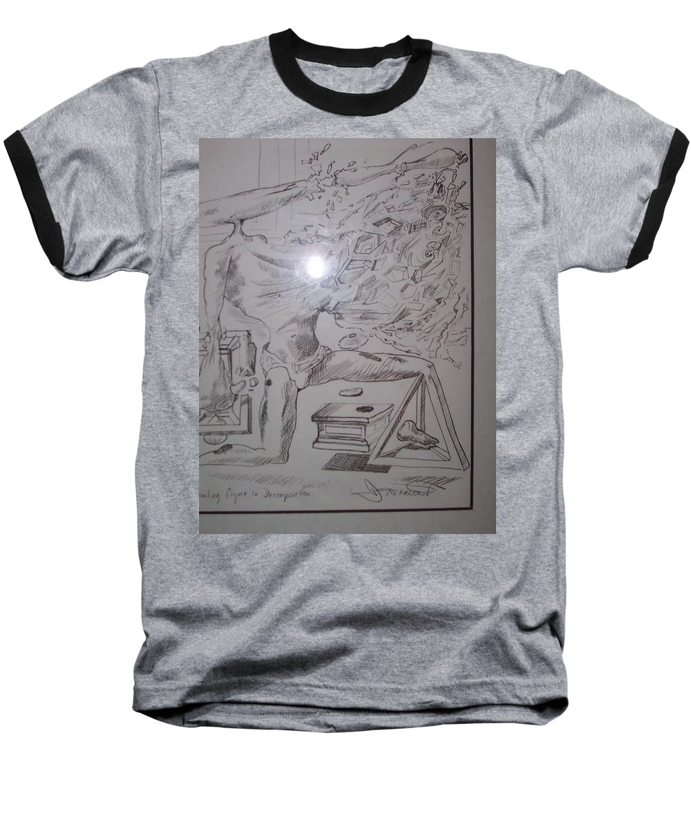 Baseball T-Shirt featuring the painting Decomposition Of Kneeling Man by Jude Darrien