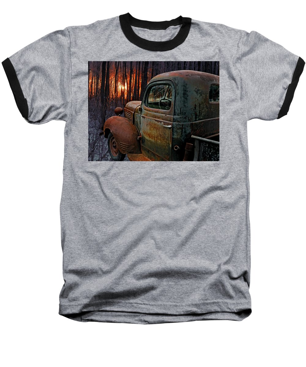 Pickup Baseball T-Shirt featuring the photograph Deer Hunting by Ron Day