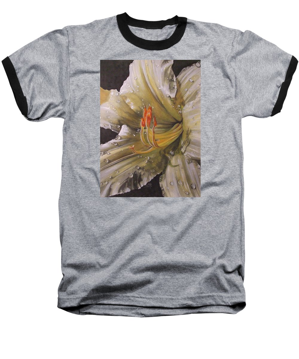 Daylily Baseball T-Shirt featuring the painting Diamonds by Barbara Keith