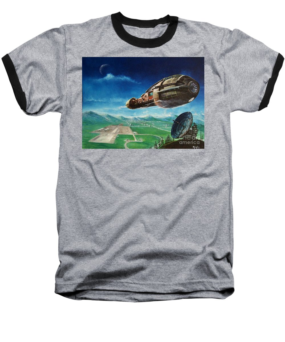 Landscape Baseball T-Shirt featuring the painting Did You Call by Murphy Elliott