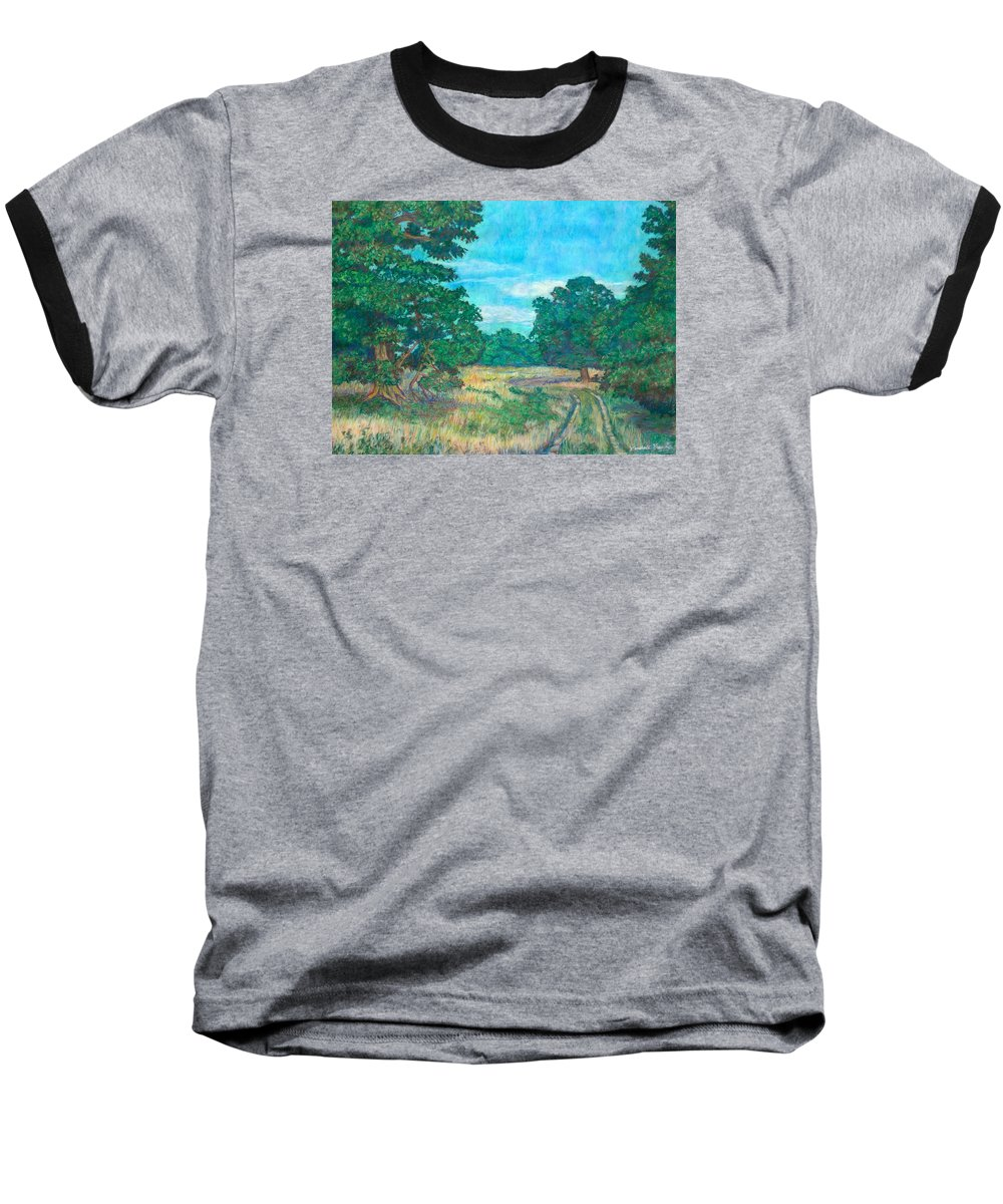 Landscape Baseball T-Shirt featuring the painting Dirt Road Near Rock Castle Gorge by Kendall Kessler