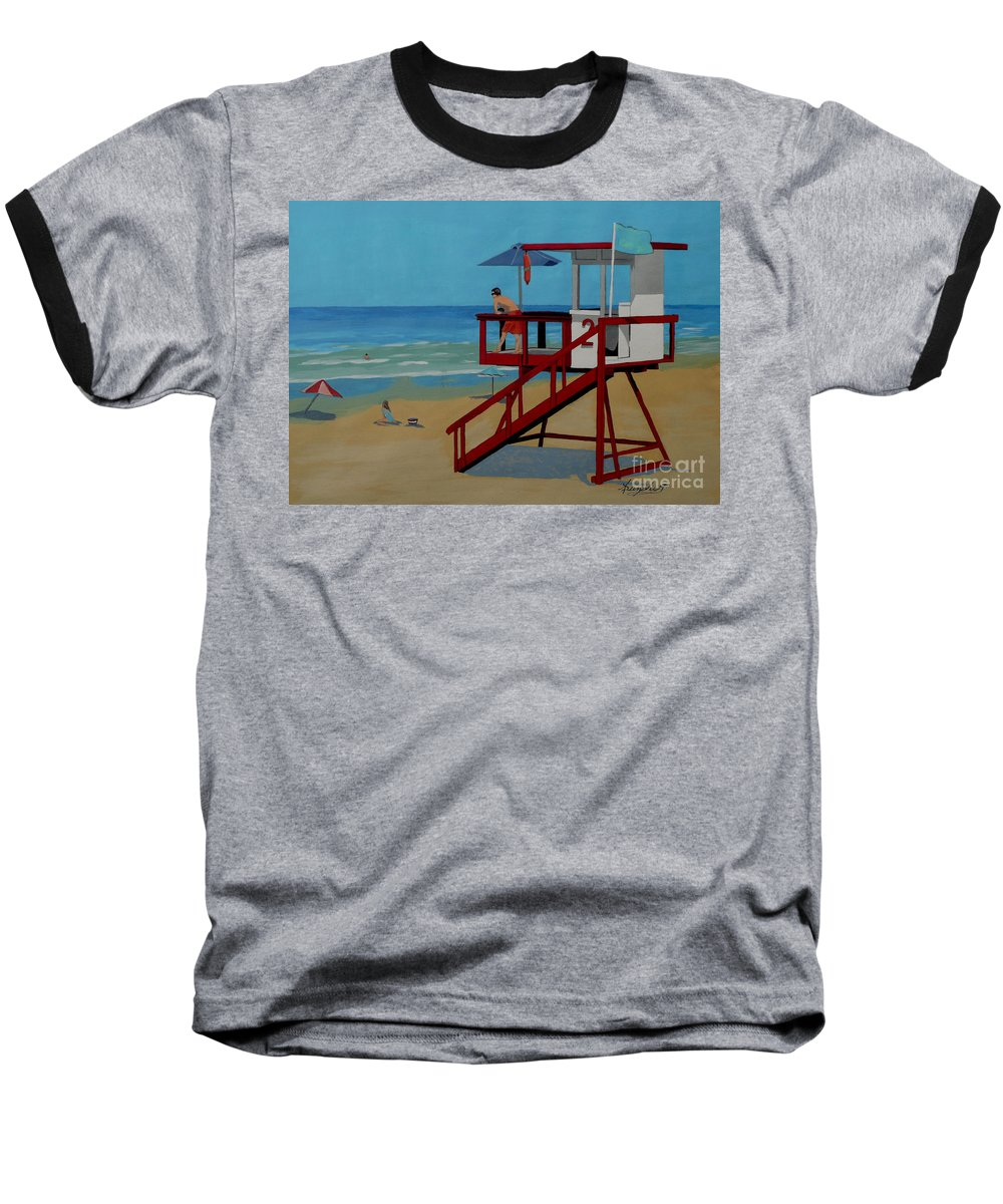 Lifeguard Baseball T-Shirt featuring the painting Distracted Lifeguard by Anthony Dunphy
