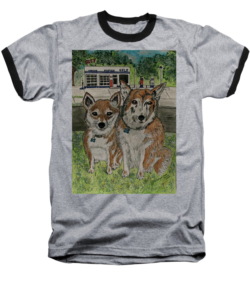 Dogs Baseball T-Shirt featuring the painting Dogs In Front Of The Gulf Station by Kathy Marrs Chandler