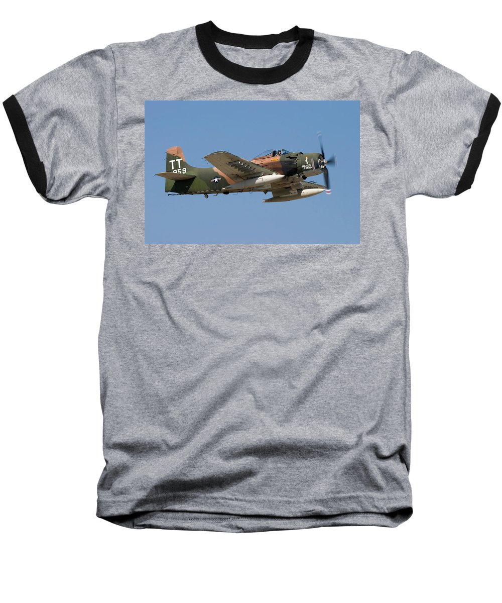 3scape Baseball T-Shirt featuring the photograph Douglas Ad-4 Skyraider by Adam Romanowicz