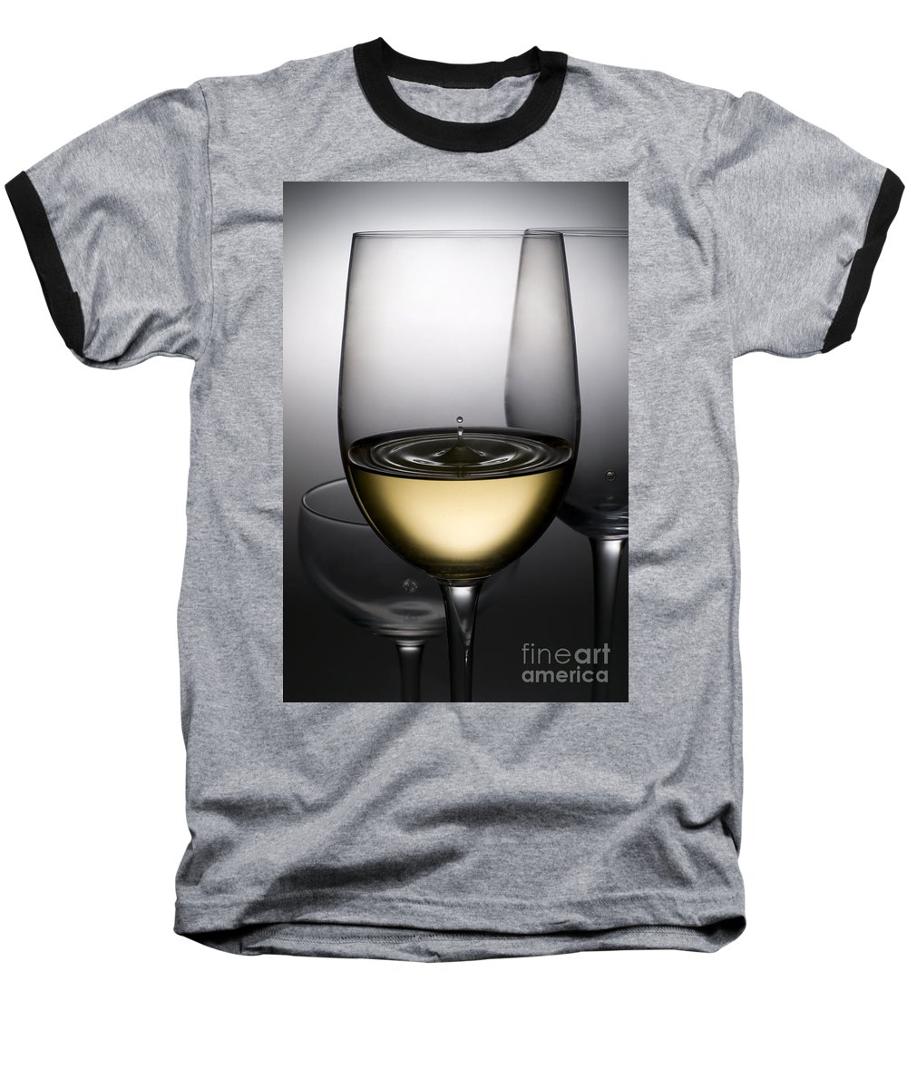 Abstract Baseball T-Shirt featuring the photograph Drops Of Wine In Wine Glasses by Setsiri Silapasuwanchai