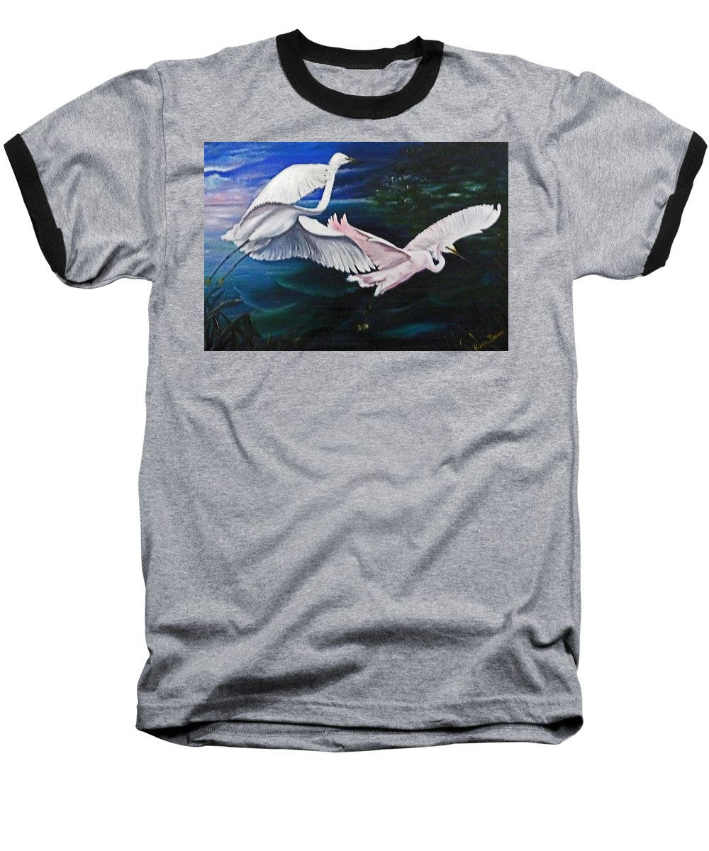 Snowy Egrets Baseball T-Shirt featuring the painting Early Flight by Karin Dawn Kelshall- Best