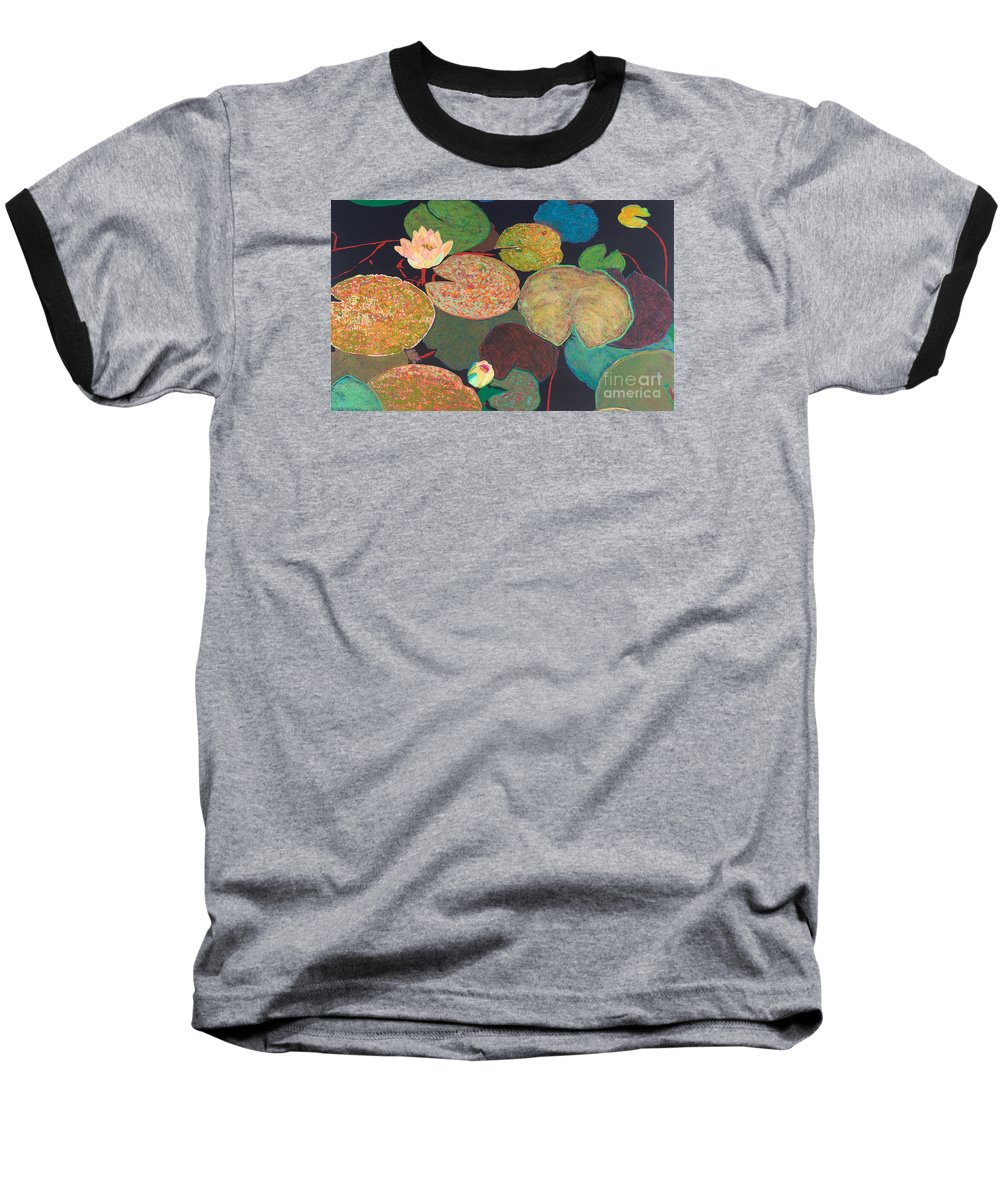 Landscape Baseball T-Shirt featuring the painting Early Mist by Allan P Friedlander