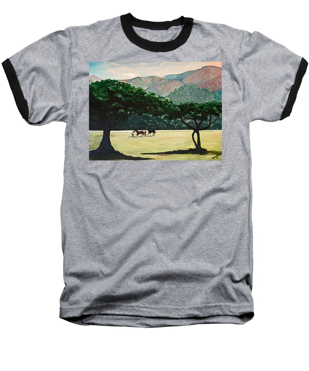 Trees Baseball T-Shirt featuring the painting Early Morning Savannah by Karin Dawn Kelshall- Best