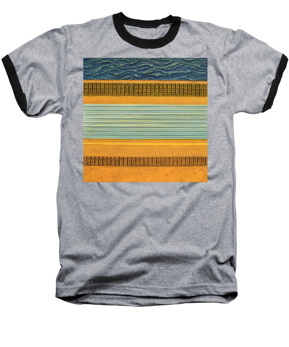Abstract Baseball T-Shirt featuring the painting Earth Layers Abstract Ll by Michelle Calkins