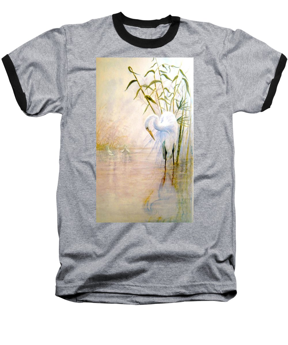 Eret; Bird; Low Country Baseball T-Shirt featuring the painting Egret by Ben Kiger
