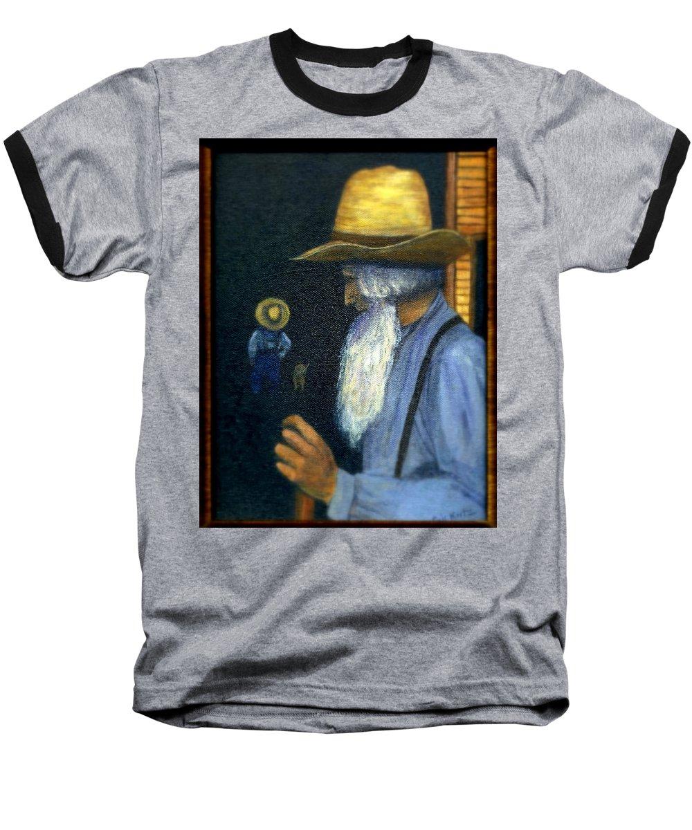 Men Baseball T-Shirt featuring the painting Eli Remembers by Gail Kirtz