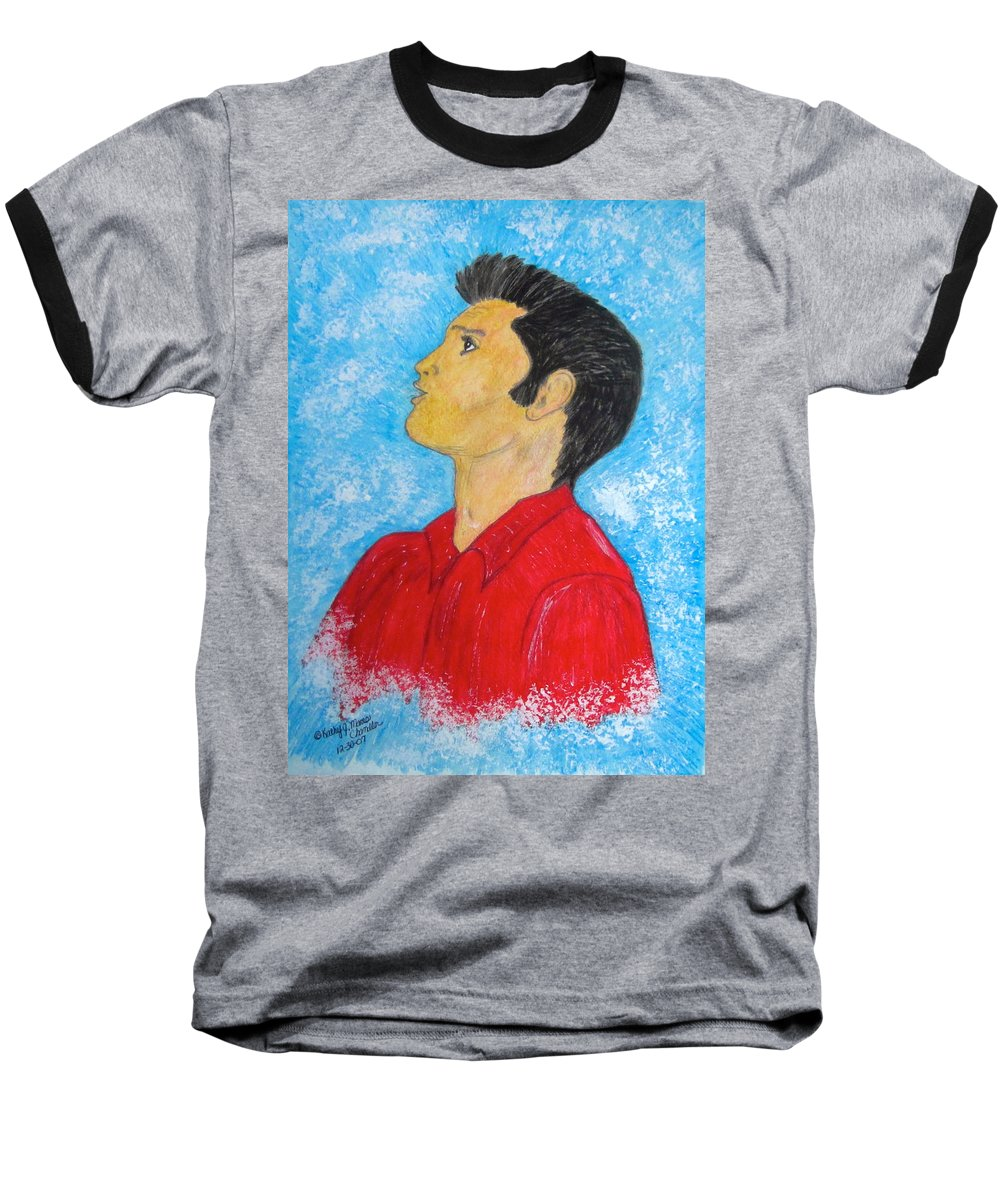 Elvis Presely Baseball T-Shirt featuring the painting Elvis Presley Singing by Kathy Marrs Chandler