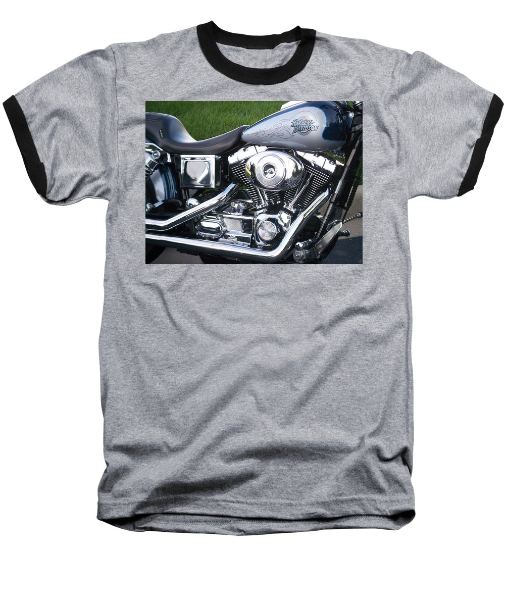 Motorcycles Baseball T-Shirt featuring the photograph Engine Close-up 5 by Anita Burgermeister