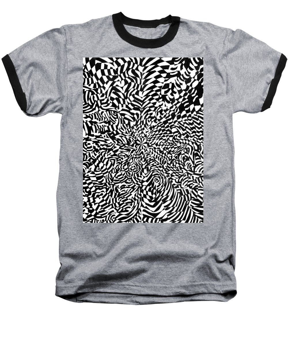 Abstract Baseball T-Shirt featuring the drawing Entangle by Crystal Hubbard