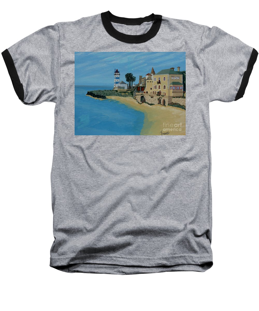 Lighthouse Baseball T-Shirt featuring the painting European Lighthouse by Anthony Dunphy