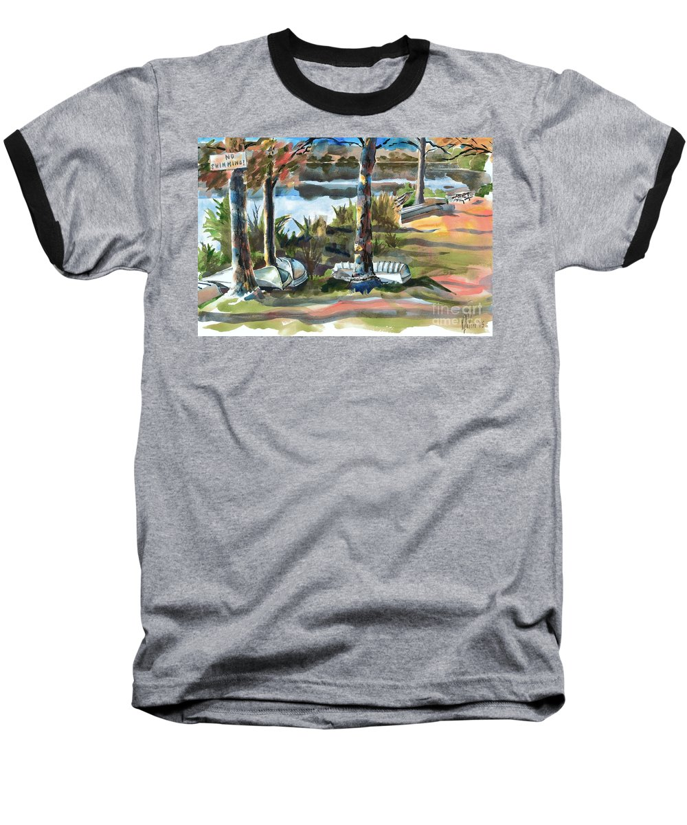 Evening Shadows At Shepherd Mountain Lake No W101 Baseball T-Shirt featuring the painting Evening Shadows At Shepherd Mountain Lake No W101 by Kip DeVore