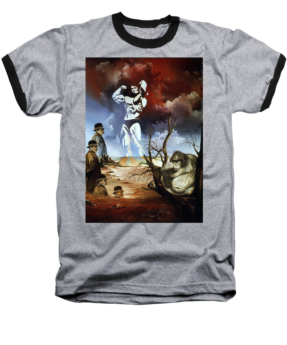 Surrealism Baseball T-Shirt featuring the painting Evolution by Otto Rapp