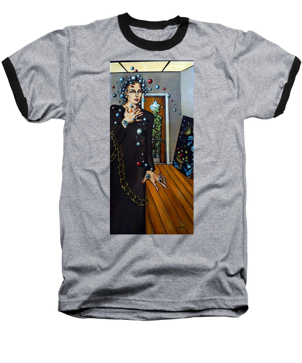 Surreal Baseball T-Shirt featuring the painting Existential Thought by Valerie Vescovi