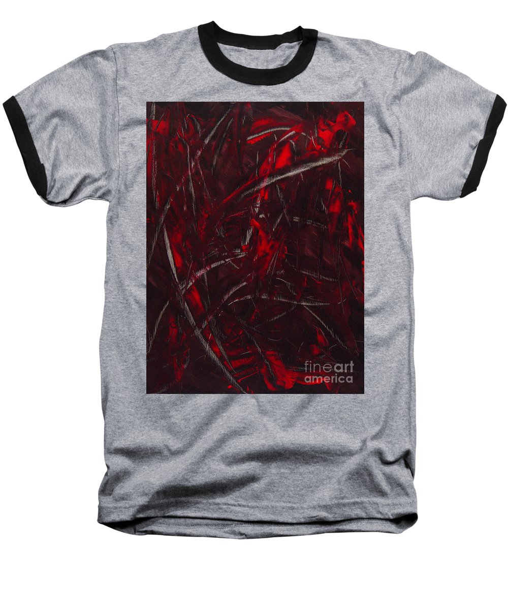 Abstract Baseball T-Shirt featuring the painting Expectations Red by Dean Triolo