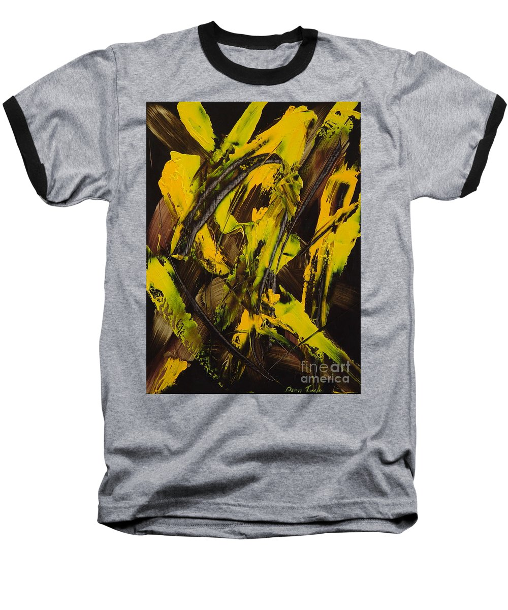 Abstract Baseball T-Shirt featuring the painting Expectations Yellow by Dean Triolo