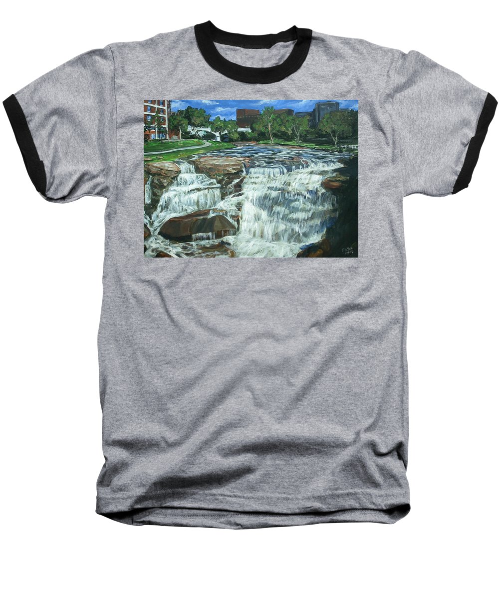 Waterfall Baseball T-Shirt featuring the painting Falls River Park by Bryan Bustard