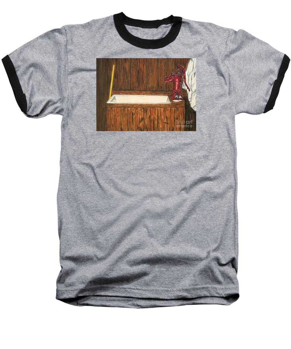 Farm Sink Baseball T-Shirt featuring the painting Farm Sink by Regan J Smith