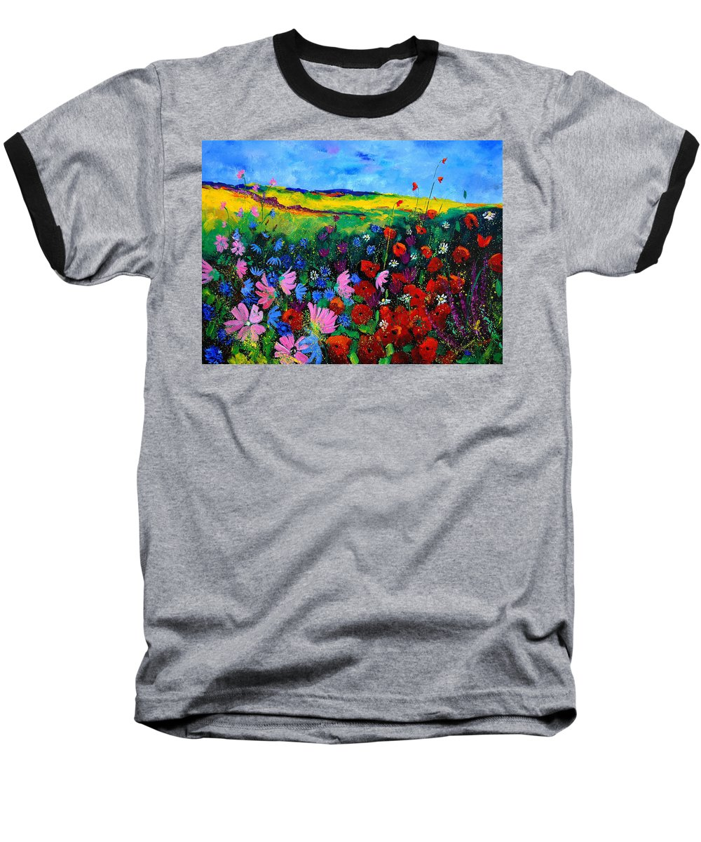 Poppies Baseball T-Shirt featuring the painting Field Flowers by Pol Ledent