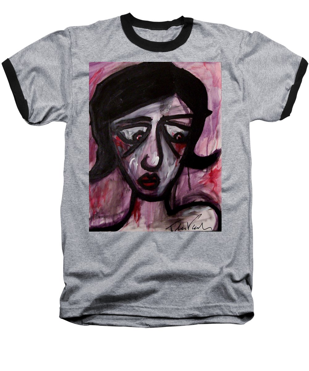 Portait Baseball T-Shirt featuring the painting Finals by Thomas Valentine