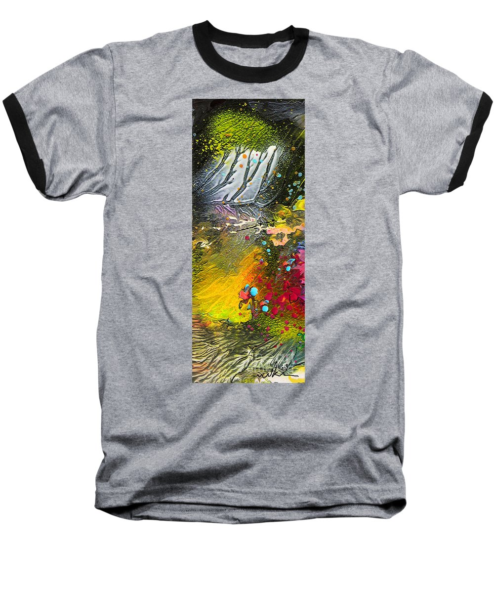 Miki Baseball T-Shirt featuring the painting First Light by Miki De Goodaboom