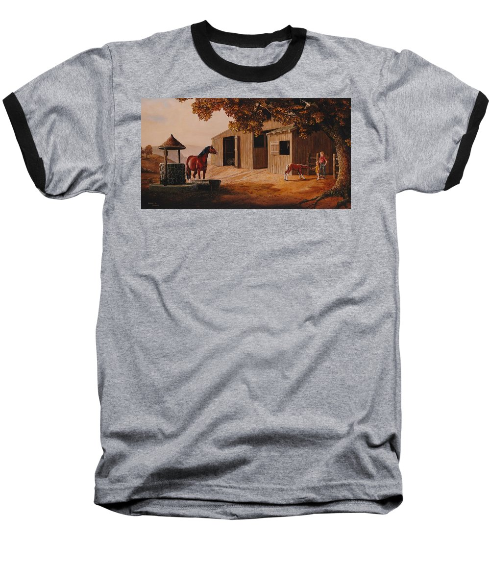Farm Baseball T-Shirt featuring the painting First Meeting by Duane R Probus